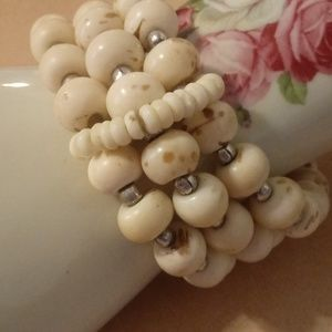 Jewelry - Cream And Brown Speckled Beaded Stretch Bracelet